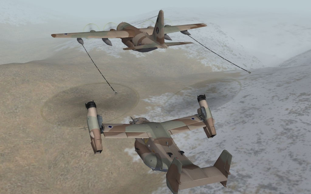 MV-22 refueling behind C-130E.