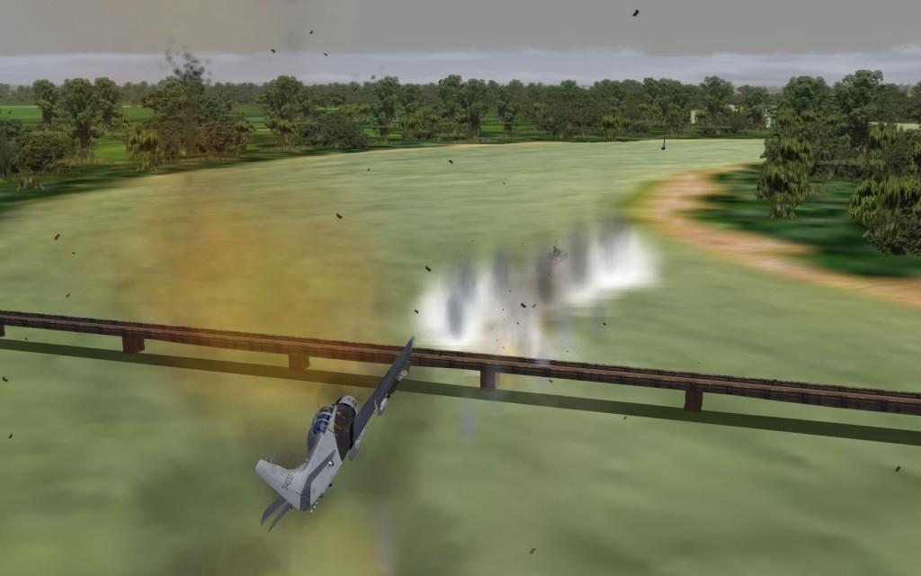 A-1E attacking patrol boat a Song Ma bridge.