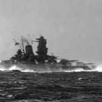 "The largest battleship in the world's history - the Japanese ""Yamato"". Ship on the sea trials"